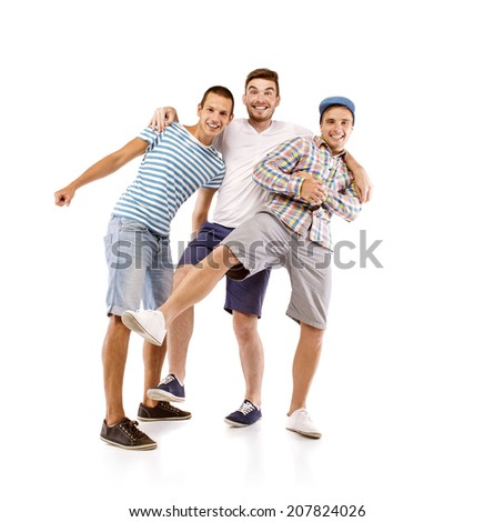 Group of young men isolated on white background. Best friends - stock photo