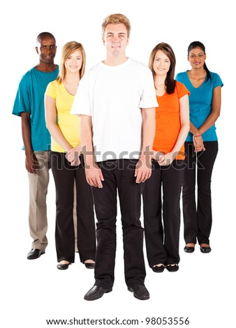 group of young multicultural people on white background - stock photo