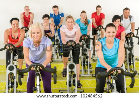 group of young people at the gym - stock photo