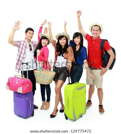 group of young people bring suitcase going on vacation - stock photo