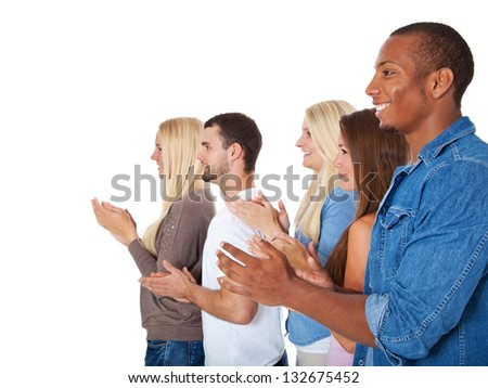 Group of young people clapping hands. All on white background. - stock photo