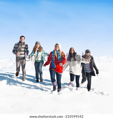 Group of young people enjoying winter.