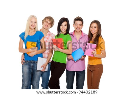 Group of young people, happy excited smiling students standing in a line holding notebooks, friends isolated on white background - stock photo