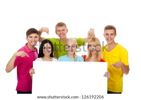 group of young people, Happy smile students holding a blank white card board, signboard, empty bill board Isolated over white background - stock photo