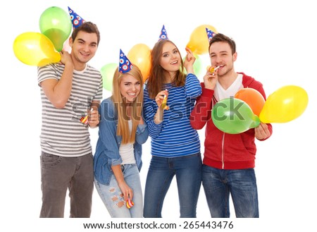 Group of young people having a birthday party, isolated on white background - stock photo