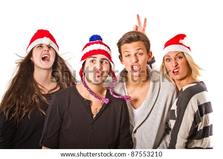 Group of young people having fun with christmas - stock photo
