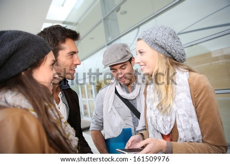 Group of young people in school campus - stock photo