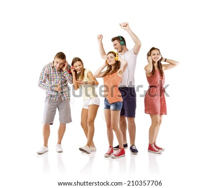 Group of young people listening to the music, isolated on white background. - stock photo