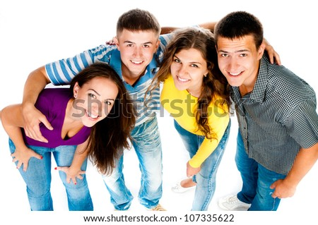 group of young people on a white background - stock photo