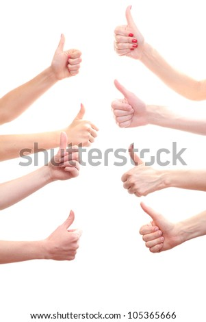 group of young people's hands isolated on white - stock photo