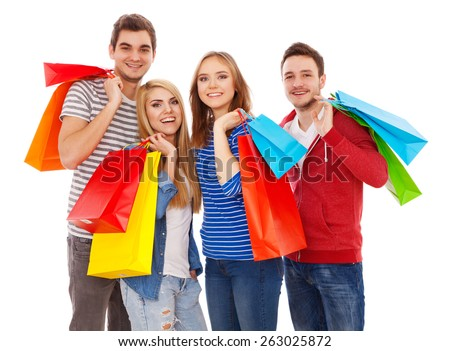Group of young people shopping, isolated on white background - stock photo
