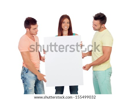 Group of young people with a blank placard isolated on a white background - stock photo