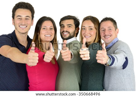 Group of young people with thumbs up, isolated on white