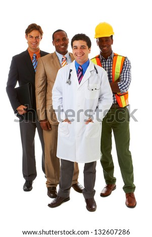 group of young professionals isolated on white background - stock photo