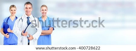 Group of young smiling nurses. - stock photo