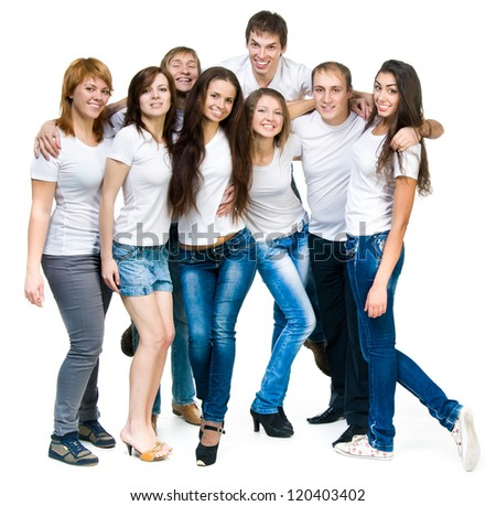 group of young smiling people over white - stock photo