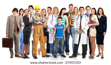 Group of young smiling people. Over white background - stock photo