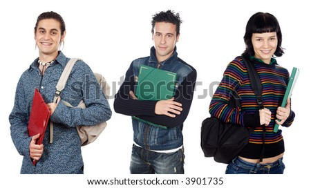 Group of young students a over white background - stock photo
