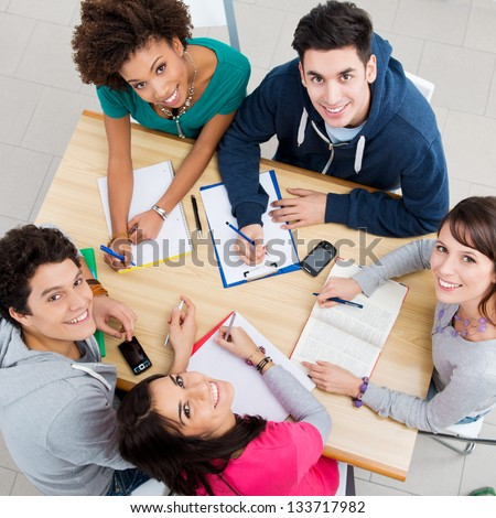 Group of Young Students Studying together at Library, High View