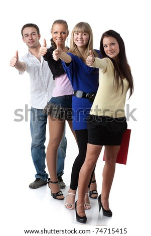Group of young successful people showing a sign ok on a white background.