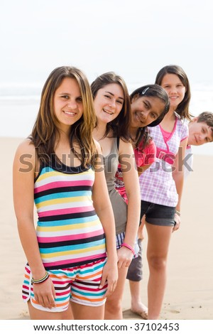 group of young teen on beach