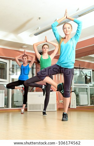 Group of young women in the gym centre. Pilates class. - stock photo