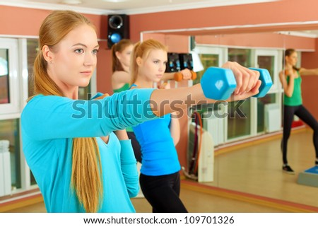 Group of young women in the gym centre. Pilates class.