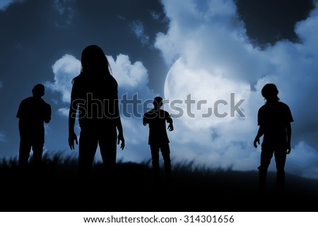 Group of zombie walking at night. Halloween concept - stock photo