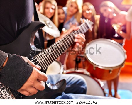 Group peole playing  drum in night club. - stock photo