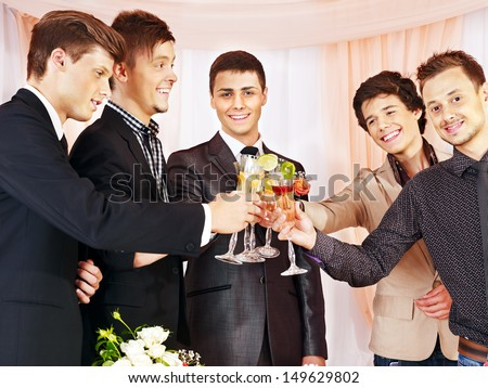Group people at stage party before wedding. - stock photo