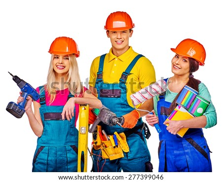 Group people builder  with construction tools. Isolated. Two women and one man. - stock photo