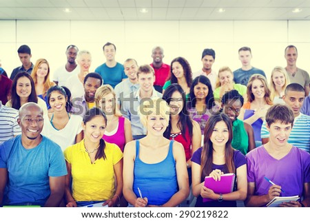 Group People Casual Learning Lecture Notes Cheerful Concept - stock photo