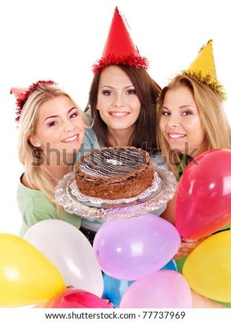 Group people holding cake. Isolated. - stock photo