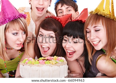 Group people in party hat eat cake. Isolated. - stock photo