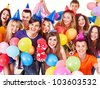 Group people in party hat with balloon. Isolated. - stock photo