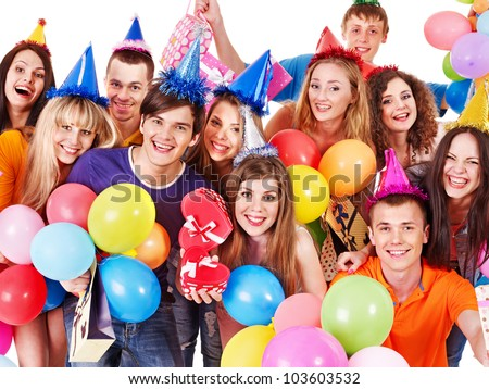 Group people in party hat with balloon. Isolated.