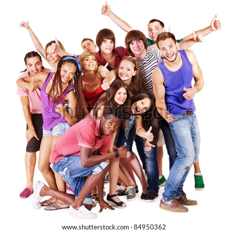 Group people  Isolated. - stock photo