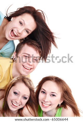 Group people of teenager. Isolated. - stock photo