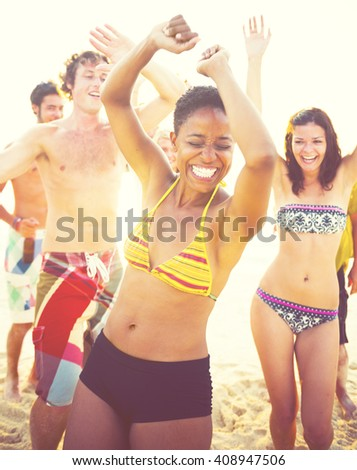 Group People Party Beach Concept