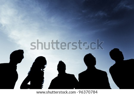 group people watching the action. - stock photo