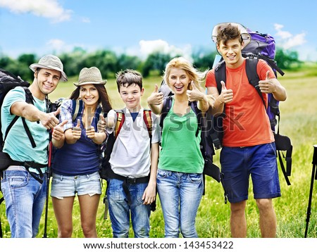 Group people with backpack  summer outdoor. - stock photo