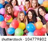 Group people with balloon on party. Isolated. - stock photo