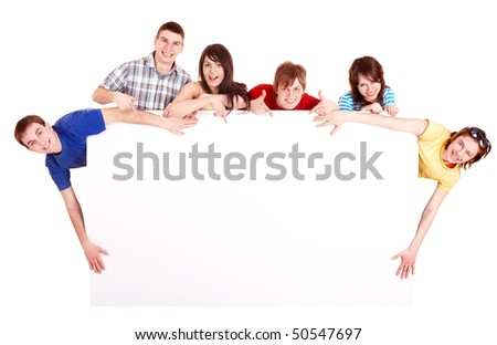 Group people with thumbs up and banner. Isolated. - stock photo