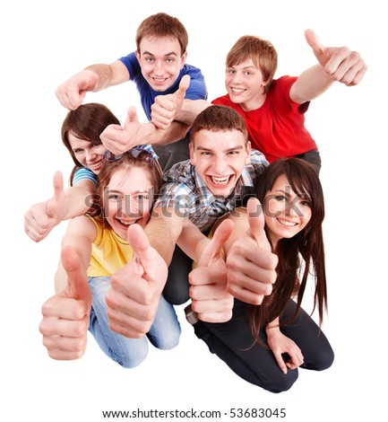 Group people with thumbs up. Isolated. - stock photo