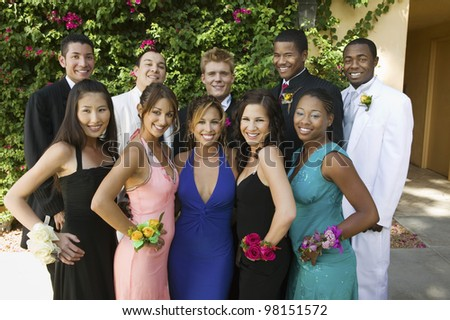 Group Photo of Well-Dressed Teenagers - stock photo