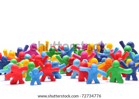 group picture of many different colorful plasticine poeple - stock photo