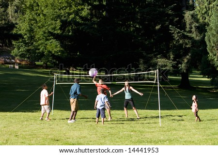 Group playing volleyball in the park. Horizontally framed photograph - stock photo