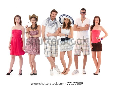 Group portrait of happy young people dressed for summer.?