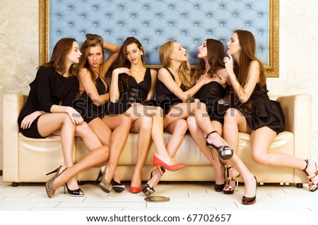 Group Portrait of six beautiful women - stock photo
