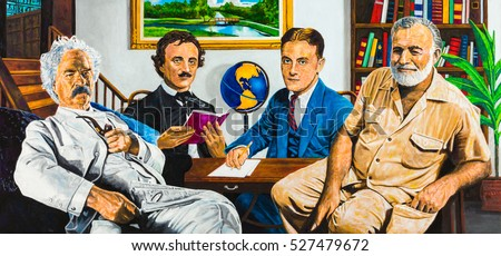 Group portrait of the iconic American writers Mark Twain, Edgar Allan Poe, F Scott Fitzgerald, and Ernest Hemingway in a home office setting.